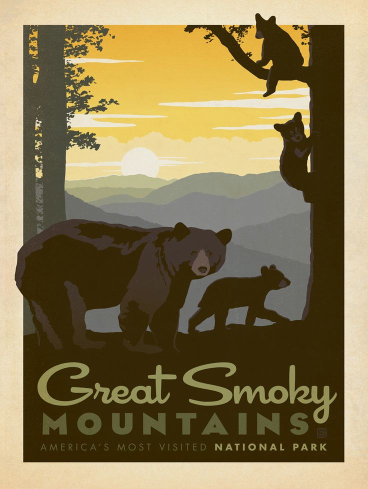 Vintage Travel Poster - Great Smoky Mountains National Park -  Tennessee - Anderson Design Group,. 2009-2011.