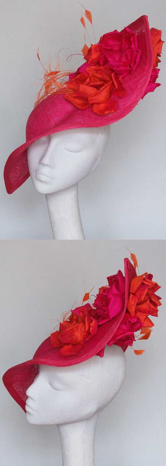 Hot Pink and Orange Floral Hatinator Fascinator with silk petals, for Kentucky Derby, Del Mar, Epsom, Royal Ascot. Gold Lace Veiled Floral Fascinator for Racing Day at the Races, Dubai World Cup racing fashion inspiration. Summer wedding guest outfits, or Mother of the bride. #kentuckyderby #royalascot #bridal #fascinators #springwedding #weddingguest  #derbyoutfits #racingfashion #ascothats #derbyhats #handmadeonetsy #affiliatelink #handmadeisbest #weddingoutfits #motherofthebride…