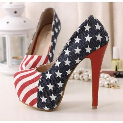 Denim Star Printed Hidden Platform Stilettos Heels