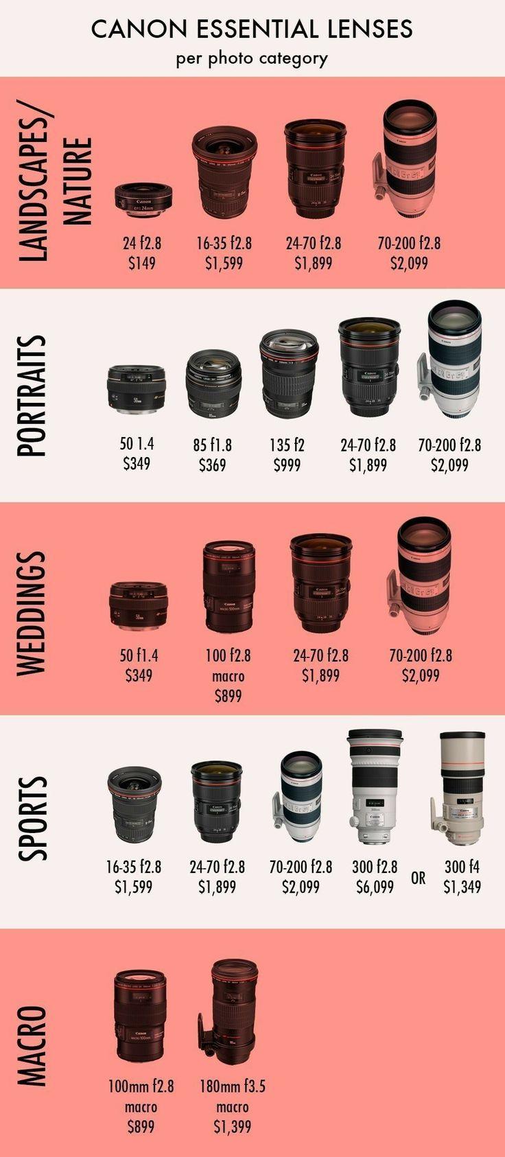 Best Photographic Lenses for Each Specialty #photography101 #lens #cameralenses #photography #cameraequipment #cameraequipmentorganization