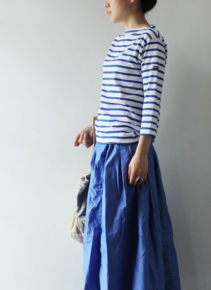 Blue and white stripe knit shirt and blue linen skirt