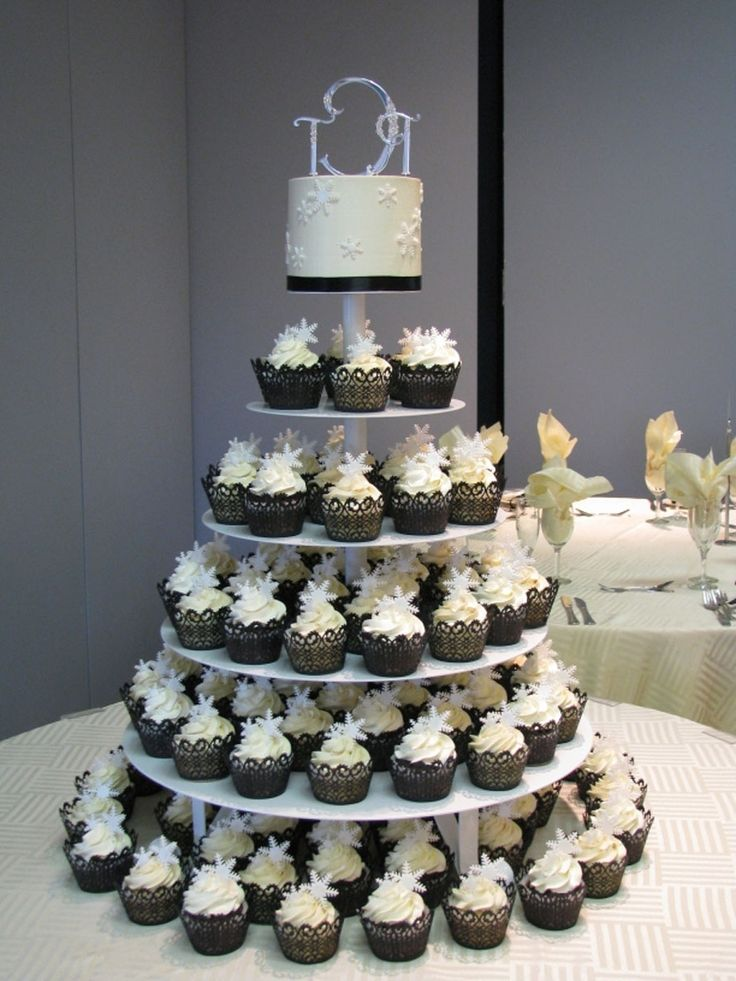Small Wedding Cake With Cupcakes