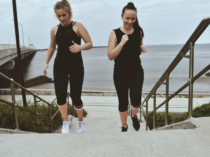 Activewear Twinning Goals. Models wearing size Small C25 Leggings in peach.