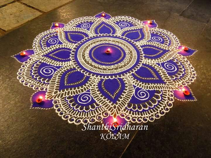 Love the colors!!!! the simplicity and yet the boldness of the white, blue/purple and pink!!!!! another in the top 3!!!!! Kolam.Shanthi Sridharan