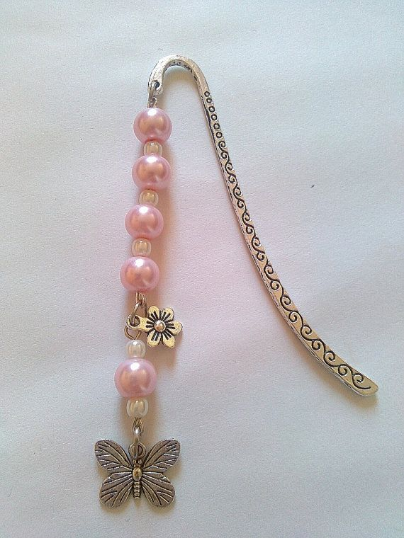 Pink and white butterfly and flower beaded bookmark by KaisCards, £6.00
