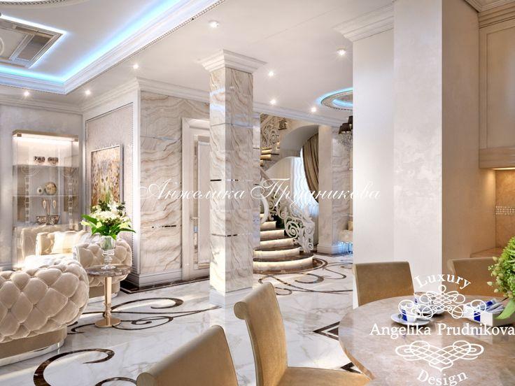 В интерьере гостиной много мрамора: пол, стены, колонны, камин, столешницы. Фото 2016 - Дизайн дома