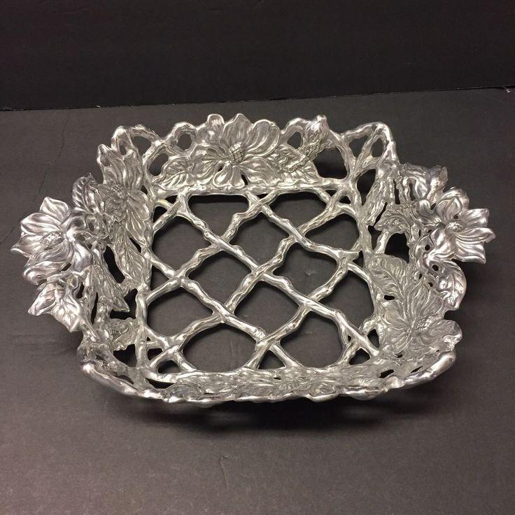 Arthur Court Silver Sunflower Woven Basket Ornate Design Casserole Dish Holder #ArthurCourt