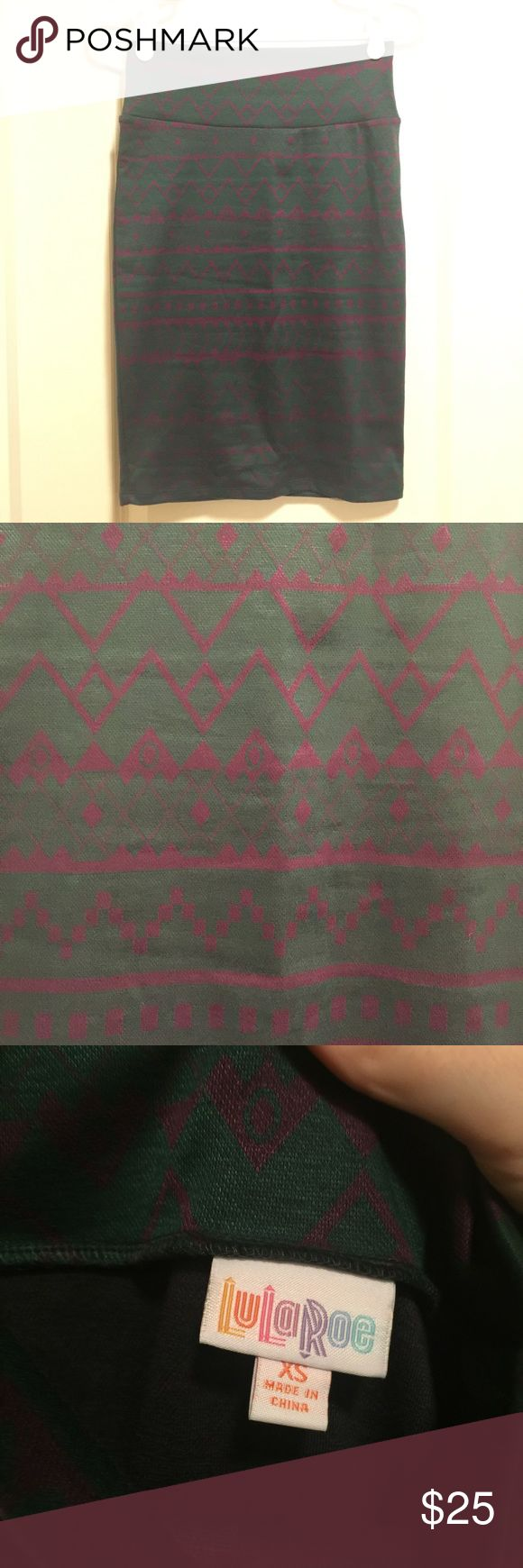 NWOT Jacquard Fabric XS LLR Cassie New without tags, Lularoe Cassie skirt. Jacquard fabric, green and dark purple. Took tags off thinking I would wear it, but never did. Size XS. Wanted to mimic one of the Lularoe convention model outfits. Smoke/pet free home. LuLaRoe Skirts Pencil