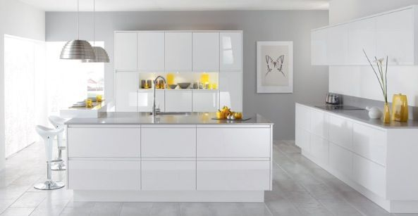 White gloss handless kitchen