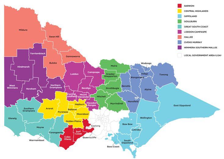 Map of regional Victoria highlighting the RDV regions and the Partnerships Regions
