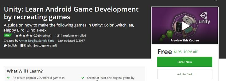 Udemy Coupon Free – Unity: Learn Android Game Development by recreating games  Coupon Link : http://freecouponudemy.com/udemy-coupon-free-unity-learn-android-game-development-recreating-games/
