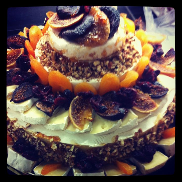 Brie and dried fruit layered.  Christmas entertaining