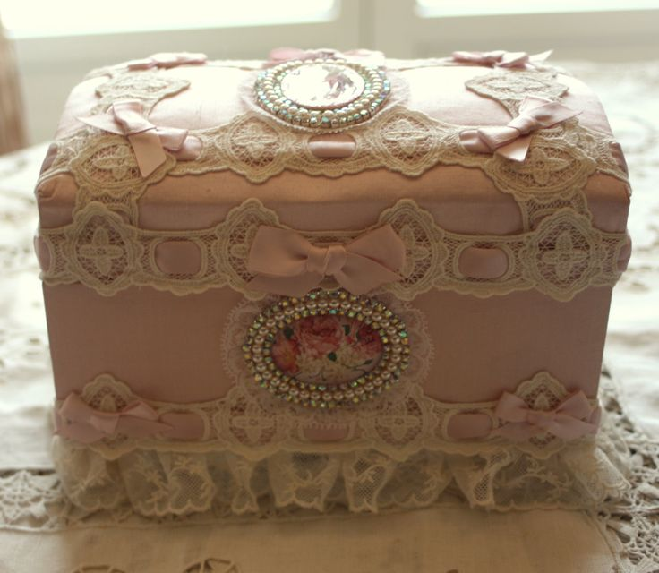 17 best images about vintage lace covered boxes tins on for Boite shabby chic