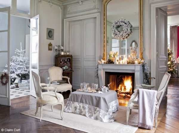 Elegant Christmas Decorating Ideas Blending Light Gray Color and French Chic