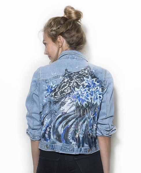 TOPSHOP denim jacket with original artwork by Ana Kuni