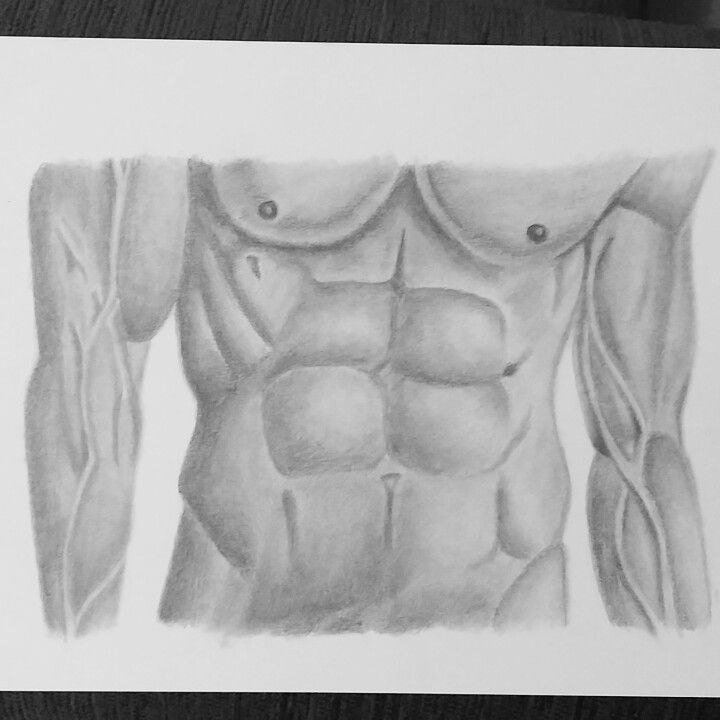 Male body art. Pencil drawing. Self taught