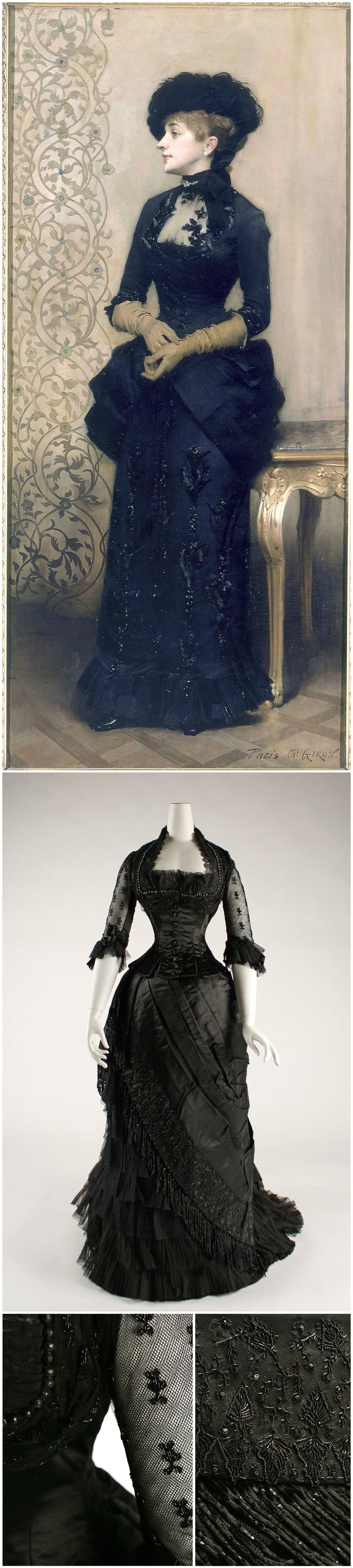"""Evening dress, American or European, 1881-84, silk, collection of the Metropolitan Museum of Art. """"Woman wearing gloves,"""" also known as """"The Parisienne,"""" by Charles-Alexandre Giron, 1883, oil on canvas, 200 x 91 cm, collection of Petit Palais."""