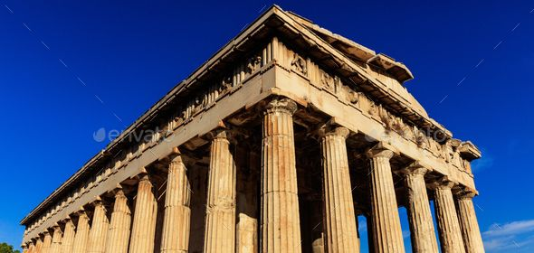 Athens Greece Hephaestus Temple On Blue Sky Background By Rawf8