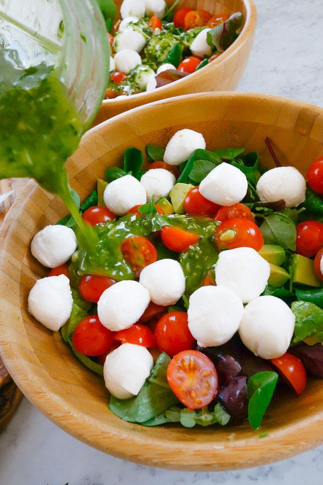 Caprese Salad + Pesto Dressing Recipe-10 (will never say no to some mozzarella)