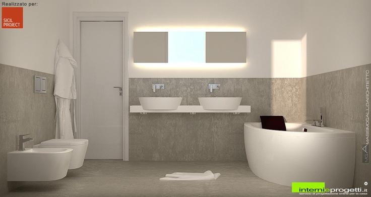 un render di un bagno minimal dai colori chiari e dalle forme semplici e pulite