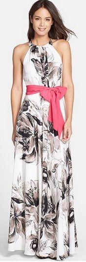 Cupshe:  High Fashion Halter Neck Long Dress. Floral print with Pink Belt.