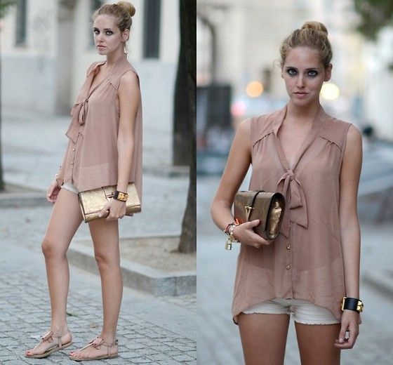 neutral and gold: Fashion Spring Summ, Summer Looks, Mullets, Bows Blouses, Clutches, Bowtie Blouses, Sheer Tops, Bows Ti Blouses, Blushes