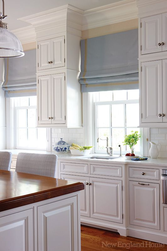 Kitchen | Window treatment <3: Romans Blinds, Kitchens Window, Romans Shades, Window Blinds, Window Treatments, White Cabinets, Crowns Moldings, New England Home, White Kitchens