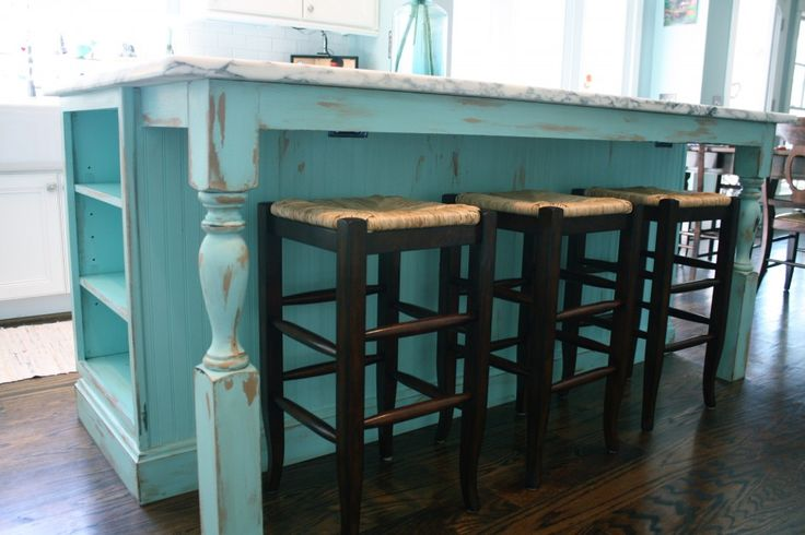 turquoise painted kitchen cabinets  Shabby Chic Kitchen Island  Kami