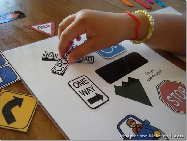 Traffic Sign shape match file folder game from Making Learning Fun