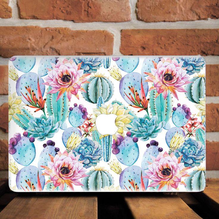 Cactus Flowers Floral Hard Plastic Case For Macbook 12 Pro Retina 15 Air 11 13