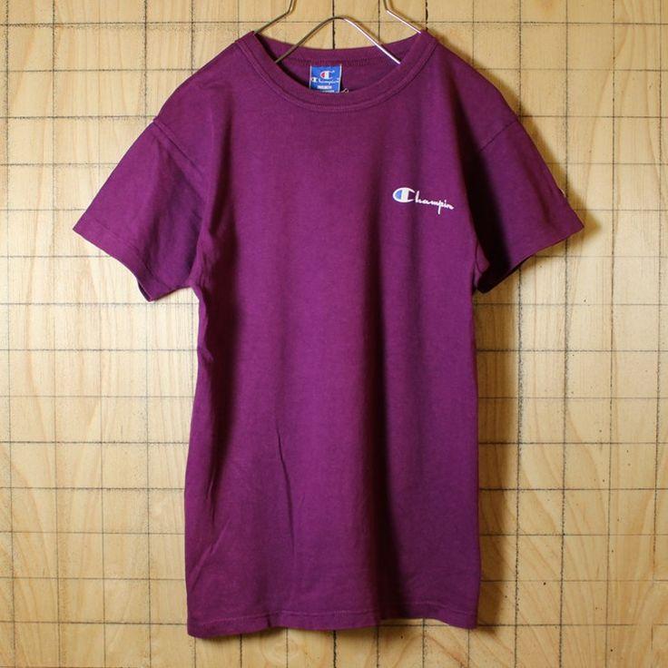 90s 古着 Champion チャンピオン ワンポイント Tシャツ USA製 パープル プリント 半袖 レディース・キッズサイズ ts482