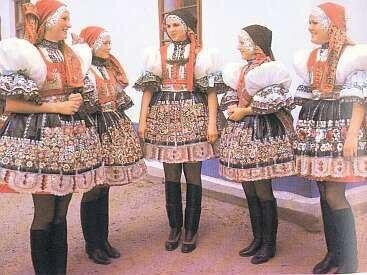 Ethnic Dress in Hodonin Region Czech Moravia Kroj Folk Costume Peasant Wear