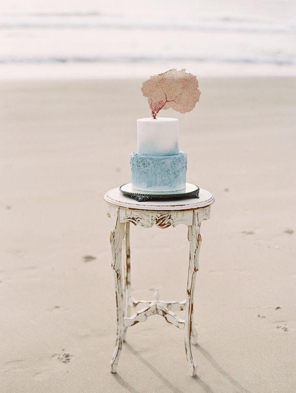 Fine Art watercolor cake | Siren of the Sea Coastal Wedding Ideas by Lavender & Twine on Wedding Sparrow