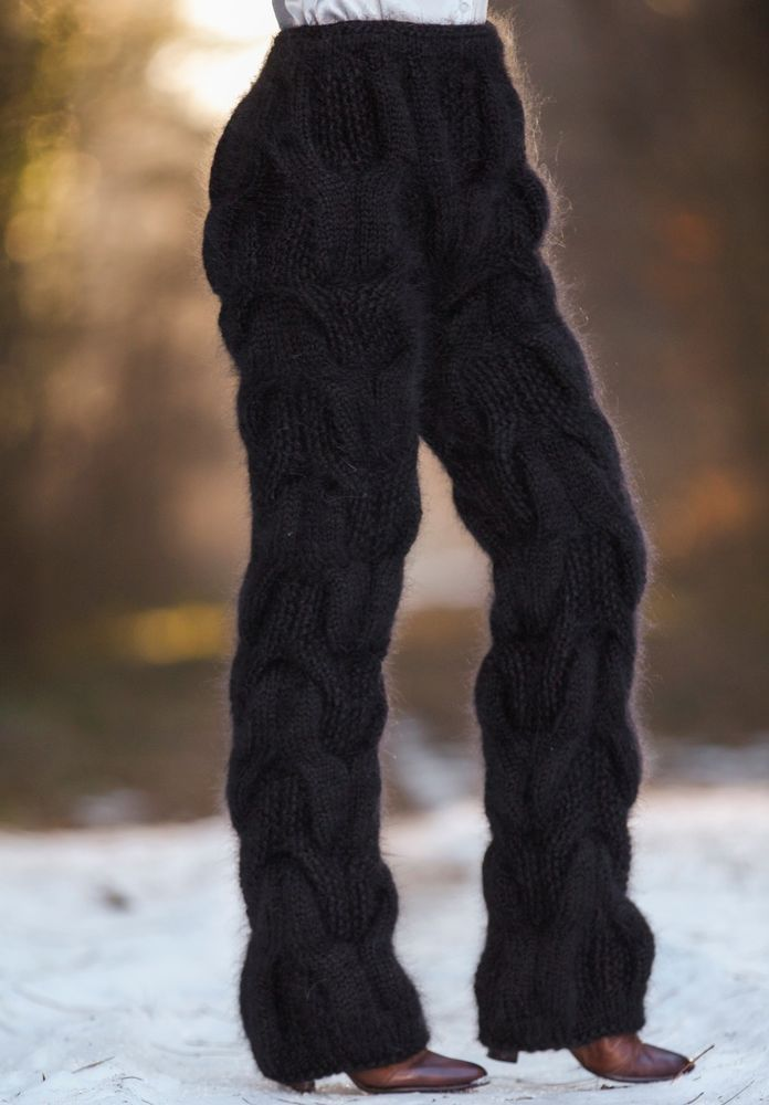 Black hand knitted pants mohair thick trousers fuzzy leg warmers SUPERTANYA SALE #SuperTanya #Casual