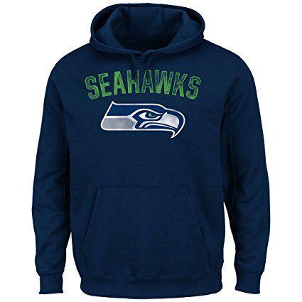 Men's Seattle Seahawks Navy Kick Return 2 Majestic Hoodie Sweatshirt (Large)