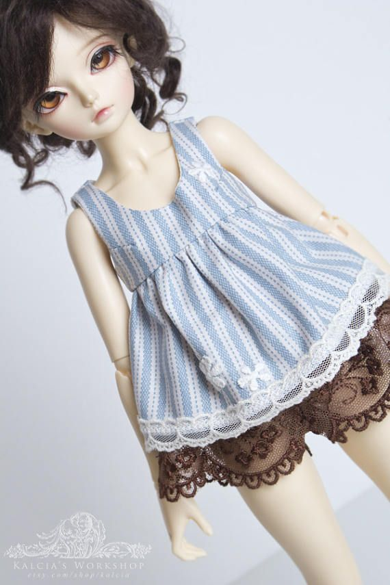 Pale blue stripes mori style top for slim Mini Super Dollfie