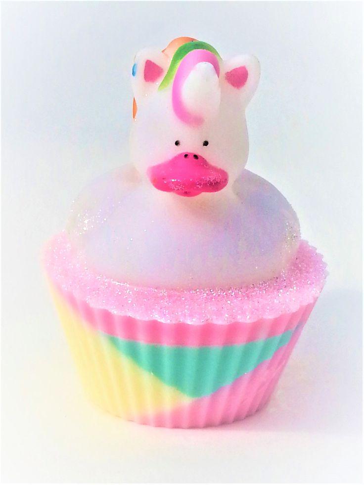 Unicorn Rubber Duck Shea Butter Cupcake Soap party favors, unicorn birthday, unicorn soap, unicorn party favors, unicorn rubber duck cupcake by CreationsByCCSoaps on Etsy