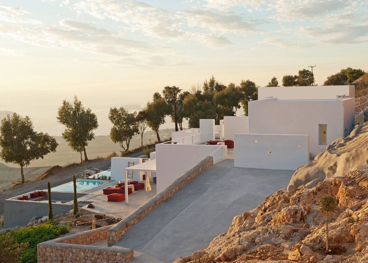 Rocks excavated from the site of this apartment building on the Greek island of Santorini