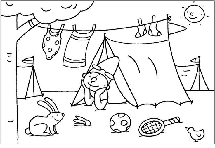Kleurplaat Pompom: in de tent