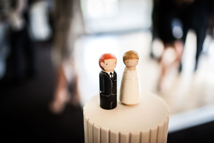 Black & White Winter Wedding at Dunbar House, Watsons Bay - custom peg doll cake toppers