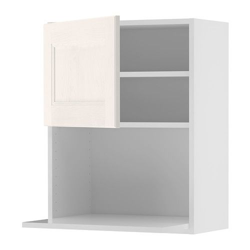 IKEA - AKURUM, Wall cabinet for microwave oven, birch effect, Ramsjö white,