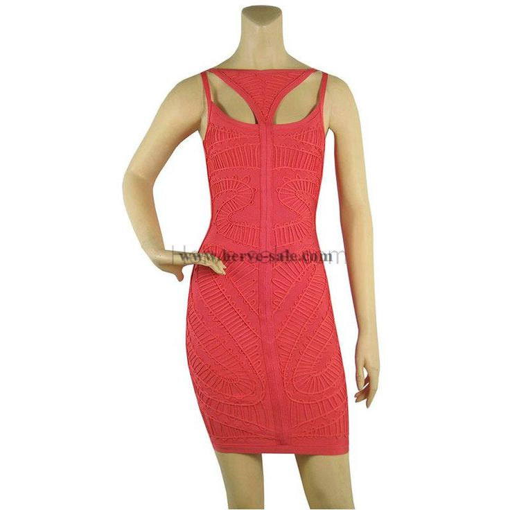 Herve Leger Red Multi-Straps Bandage Dress HL554R