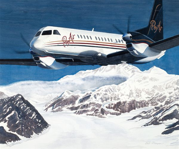 Mixed media original by Alaskan artist, Bob Thompson, depicting a Penair Saab 2000 flying past Mount McKinley. This piece was commissioned by Penair to commemorate their 60th anniversary and mark the acquisition of two new Saab 2000 aircraft.