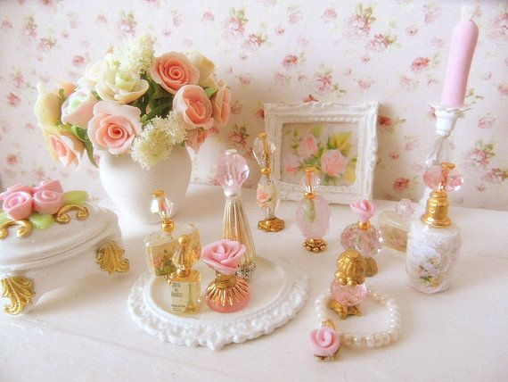 dollhouse miniature shabby chic perfume bottle,vanity tray via Etsy