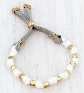 Worn Goldtone Beaded White Yarn Adjustable Bracelet
