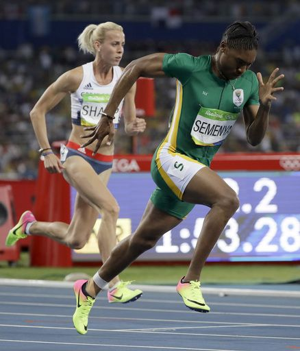 Chased by controversy: A timeline of Caster Semenya's career:  August 20, 2016  -     South Africa's Caster Semenya, right and Britain's Lynsey Sharp compete in a women's 800-meter semifinal during the athletics competitions of the 2016 Summer Olympics at the Olympic stadium in Rio de Janeiro, Brazil, Thursday, Aug. 18, 2016. (AP Photo/David J. Phillip)