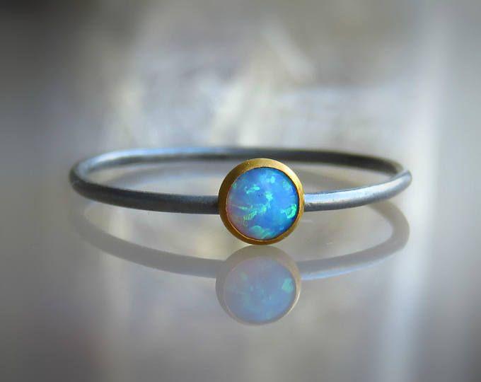 OPAL plata anillo, anillo del ópalo azul, anillo del ópalo azul plata, anillo de piedras preciosas finas, anillo de piedra
