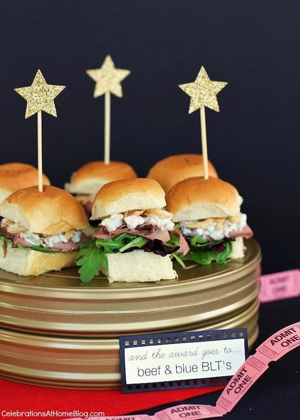 We love easy Oscar party food ideas, like these Roast Beef and Blue Cheese (or any kind of cheese) sliders. Just add little star toppers and poof! Your table is red carpet ready. | Celebrations at Home