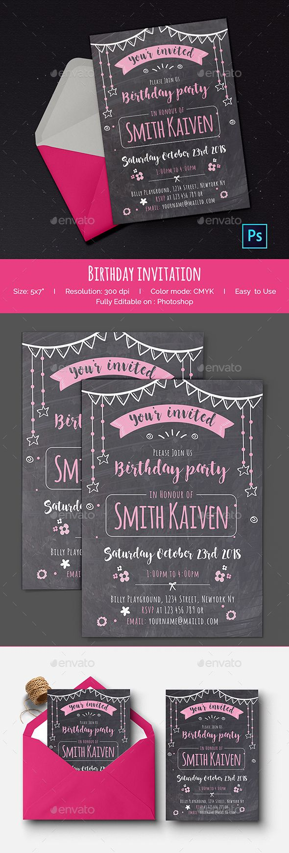 Best Invitation Card Templates Images On Pinterest Card - Birthday invitation template graphicriver