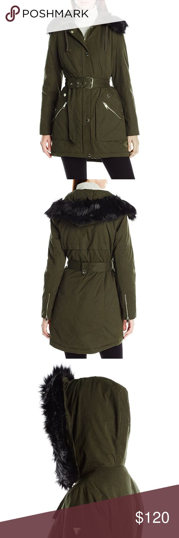 GUESS Olive Green Anorak Parka Utility Jacket GUESS women's belted parka with faux fur trim hood. This coat has a zip closure with a snap-front placket and patch pockets with zipper detail. Figure-flattering and absolutely stunning yet basic enough for a regular day. 2016 Collection. Was out in stores in October, 2016. Guess Jackets & Coats Utility Jackets